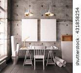 desk in hipster style loft.... | Shutterstock . vector #431858254