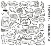 fast food doodle icons. hand... | Shutterstock .eps vector #431863513