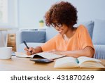 happy woman studying at home ... | Shutterstock . vector #431870269