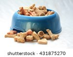 delicious dog cookies in a blue ... | Shutterstock . vector #431875270