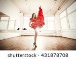 Dancer In Red Dress Rehearsing...