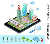 isometric mobile navigation.... | Shutterstock .eps vector #431879110