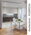 kitchen interior in a new... | Shutterstock . vector #431883226