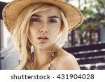 beautiful young woman with... | Shutterstock . vector #431904028