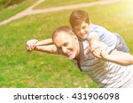 cheerful friendly family... | Shutterstock . vector #431906098