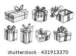 gift box set. vector sketch.... | Shutterstock .eps vector #431913370