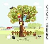 kids on a cherry tree  summer... | Shutterstock .eps vector #431926693