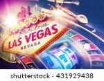 las vegas roulette and slot... | Shutterstock . vector #431929438