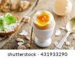 perfect soft boiled egg  bread... | Shutterstock . vector #431933290