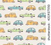 retro cars seamless pattern in... | Shutterstock .eps vector #431937550