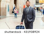 man walking with a trolley at... | Shutterstock . vector #431938924