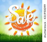 sale poster with grass border ... | Shutterstock .eps vector #431950099