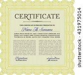yellow certificate. detailed.... | Shutterstock .eps vector #431975014