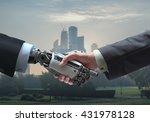 business human and robot hands... | Shutterstock . vector #431978128