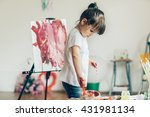 cut girl painting in at her ... | Shutterstock . vector #431981134
