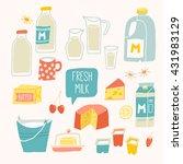 fresh milk set. dairy products  ... | Shutterstock .eps vector #431983129