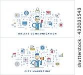 online communication. city... | Shutterstock .eps vector #432031543