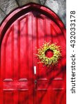 Bright Red Door With Yellow...