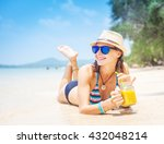 beautiful girl with a cocktail... | Shutterstock . vector #432048214