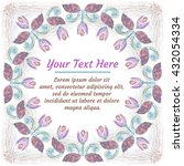 round floral wreath for card or ... | Shutterstock . vector #432054334