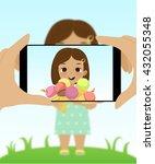 smartphone photo of cute girl...   Shutterstock .eps vector #432055348