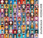 set of people icons in flat... | Shutterstock .eps vector #432061408