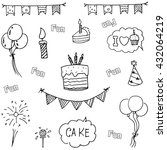 doodle vector art birthday... | Shutterstock .eps vector #432064219