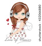 beautiful romantic girl vector... | Shutterstock .eps vector #432066880