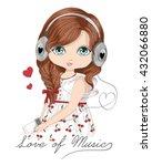 Stock vector beautiful romantic girl t shirt graphics love of music cartoon character design typography 432066880