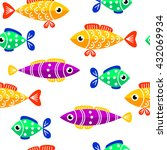 seamless pattern of cute fish.... | Shutterstock .eps vector #432069934