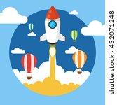 rocket launch over the hot air... | Shutterstock .eps vector #432071248