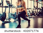 sexy blond female doing workout ... | Shutterstock . vector #432071776