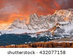 landscape with snowy peaks and... | Shutterstock . vector #432077158