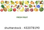 watercolor organic food... | Shutterstock . vector #432078190