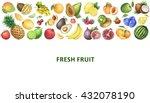 watercolor organic food... | Shutterstock . vector #432078190