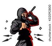 black ninja cartoon. | Shutterstock .eps vector #432092800