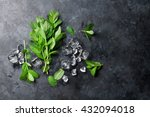 mint and ice on stone table.... | Shutterstock . vector #432094018