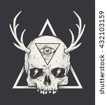 bizarre art of skull with horns ... | Shutterstock .eps vector #432103159