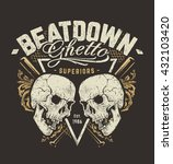 grunge style design with skulls ... | Shutterstock .eps vector #432103420