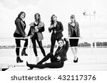 group of sexy models girls in... | Shutterstock . vector #432117376