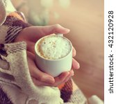 frothy cappuccino with cinnamon ... | Shutterstock . vector #432120928
