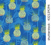 pineapple and palm tree  ... | Shutterstock .eps vector #432139294
