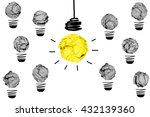 isolated yellow crumpled paper... | Shutterstock . vector #432139360