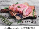 pieces of raw pork steak with... | Shutterstock . vector #432139903