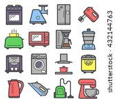 line art colored icons of home... | Shutterstock .eps vector #432144763