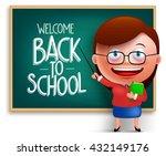 back to school teacher funny 3d ... | Shutterstock .eps vector #432149176