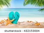 summer flipflop on sandy beach  ... | Shutterstock . vector #432153004