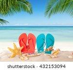 summer flipflops on sandy beach ... | Shutterstock . vector #432153094