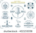 vintage nautical stamps set.... | Shutterstock .eps vector #432153358
