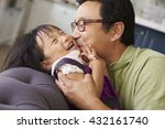 affectionate father and... | Shutterstock . vector #432161740